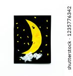 paper yellow quarter moon in... | Shutterstock . vector #1235776342