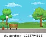 summer  spring day park. wooden ... | Shutterstock .eps vector #1235794915