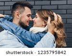 close up portrait of brunette... | Shutterstock . vector #1235795842
