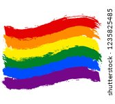 lgbt flag painted with brush... | Shutterstock .eps vector #1235825485