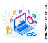 isometric weekly schedule and... | Shutterstock .eps vector #1235840338
