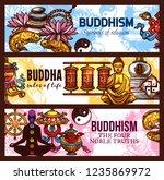 religious symbols of buddhism... | Shutterstock .eps vector #1235869972