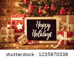 bright tree  gifts  calligraphy ... | Shutterstock . vector #1235870338