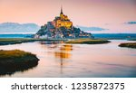 classic view of famous le mont... | Shutterstock . vector #1235872375