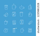 coffee and tea thin line icons...   Shutterstock .eps vector #1235881528