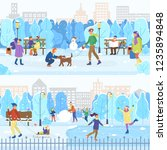 city winter park  ice rink and... | Shutterstock .eps vector #1235894848