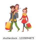 christmas family shopping day.... | Shutterstock .eps vector #1235894875