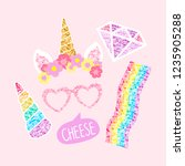 cute unicorn photo booth party... | Shutterstock .eps vector #1235905288