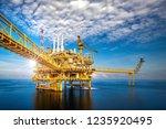 a huge yellow of offshore oil... | Shutterstock . vector #1235920495