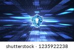 cyber security concept. shield... | Shutterstock . vector #1235922238