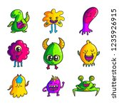 cute monsters color hand drawn... | Shutterstock .eps vector #1235926915