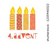 four burning advent candles... | Shutterstock .eps vector #1235940322