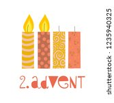 two burning advent candles... | Shutterstock .eps vector #1235940325