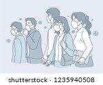 people wearing masks against... | Shutterstock .eps vector #1235940508