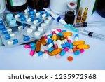 many medicines  pills  tablets  ... | Shutterstock . vector #1235972968