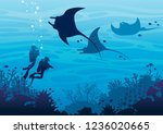 silhouette of two scuba divers... | Shutterstock .eps vector #1236020665