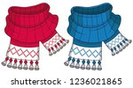 set of winter clothes isolated... | Shutterstock .eps vector #1236021865