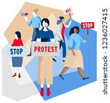 crowd of protesting people...   Shutterstock .eps vector #1236027415