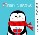 merry christmas. penguin... | Shutterstock .eps vector #1236031792