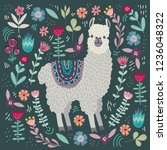 cute llama with floral elements ... | Shutterstock .eps vector #1236048322