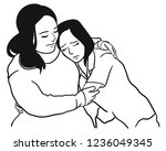 the mother is comforting her... | Shutterstock .eps vector #1236049345