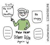 a new year's resolution. mature ...   Shutterstock .eps vector #1236058198