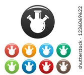 triple flask icons set 9 color...
