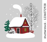 snow covered cozy cabin  high... | Shutterstock .eps vector #1236072928