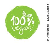 hundred percent vegan sign... | Shutterstock .eps vector #1236082855