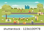 city park. vacationers people ... | Shutterstock .eps vector #1236100978