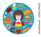 cheerful seller and fast food... | Shutterstock .eps vector #1236114622