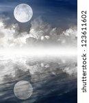 moon in night sky and water... | Shutterstock . vector #123611602