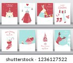 set of cute merry christmas ... | Shutterstock .eps vector #1236127522