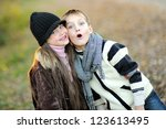 portrait of little boy and girl ... | Shutterstock . vector #123613495