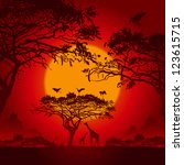 african sunset | Shutterstock .eps vector #123615715