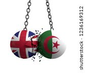 United Kingdom and Algeria flag political balls smash into each other. 3D Rendering