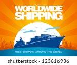 worldwide shipping design... | Shutterstock .eps vector #123616936