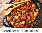 picadillo recipe ground beef ... | Shutterstock . vector #1236200722