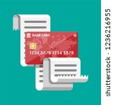 paper receipt and and credit... | Shutterstock . vector #1236216955