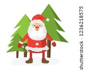 cartoon santa in red hat and... | Shutterstock .eps vector #1236218575