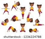 yoga kids vector icons set.... | Shutterstock .eps vector #1236224788