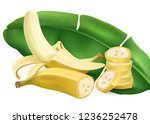 banana with leaf and slice of... | Shutterstock .eps vector #1236252478
