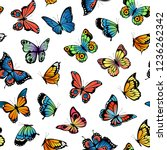 Stock vector vector decorative butterflies pattern or background illustration 1236262342