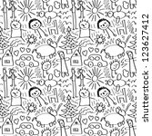 children drawings. seamless... | Shutterstock .eps vector #123627412