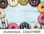 assorted donuts with different... | Shutterstock . vector #1236274885