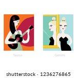 woman horoscope set. taurus and ... | Shutterstock .eps vector #1236276865