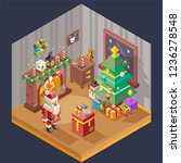 new year isometric room... | Shutterstock .eps vector #1236278548