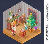 new year isometric room...   Shutterstock .eps vector #1236278548