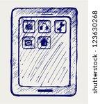 digital tablet. doodle style | Shutterstock .eps vector #123630268