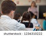 the boy disciple in classroom  | Shutterstock . vector #1236310222